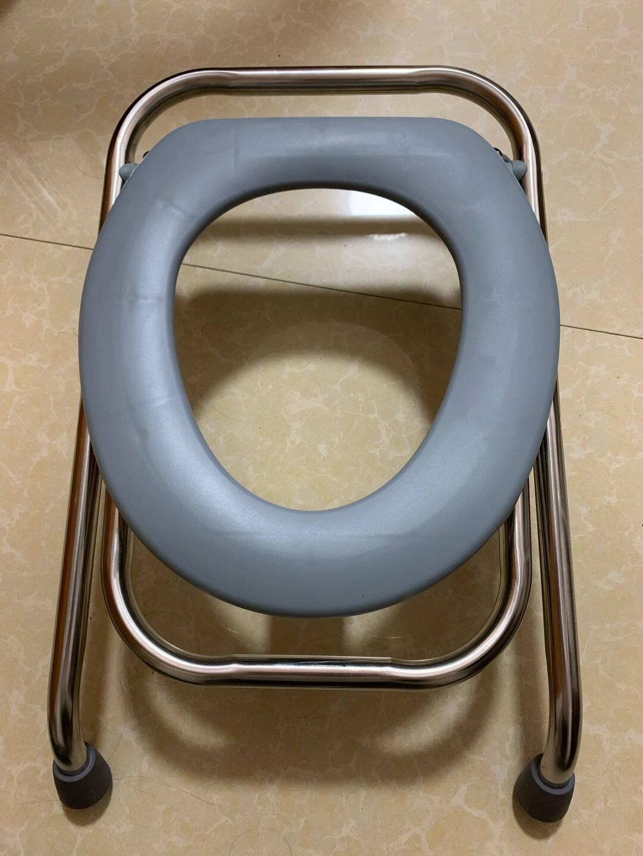 孕妇坐便器可折叠防滑坐便椅凳孕妇老人家用蹲厕简易便携式可移动马桶座便椅子38CM高折叠不锈钢【盖板款】