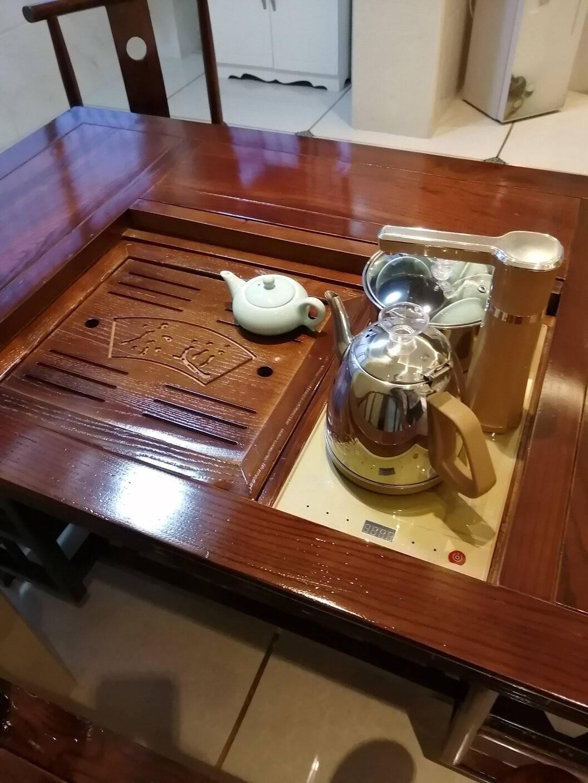 森林交响实木茶桌椅组合功夫喝茶桌新中式茶几桌实木茶台套装小户型阳台办公室南榆木茶道茶艺桌1.5m马到成功+1太师椅+4月牙椅