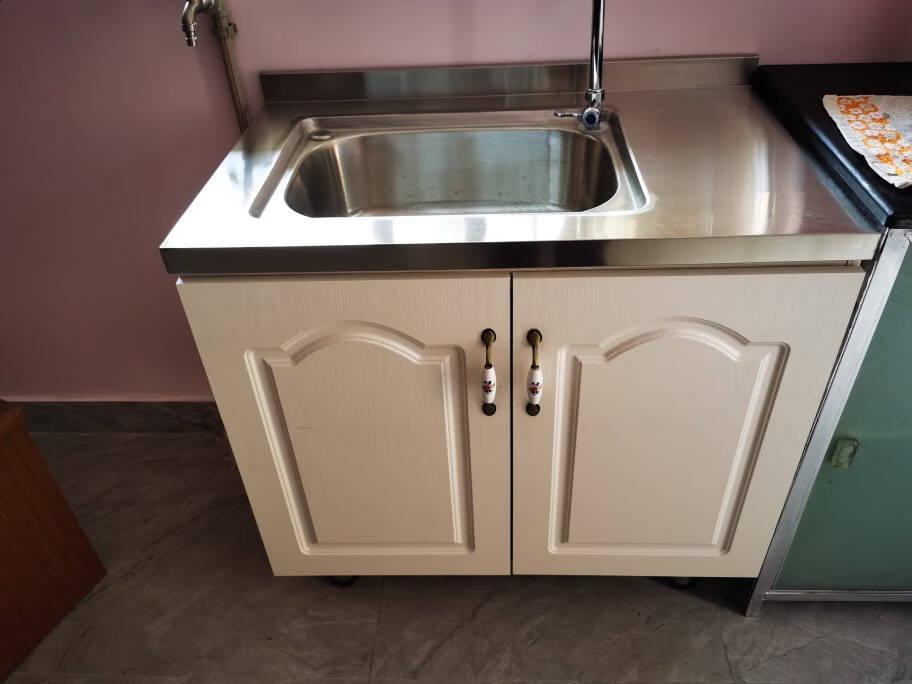 简易厨柜经济型家用不锈钢灶台柜厨房整体组合装洗菜碗柜简约橱柜6Fjft1.2米三门右煤气罐左灶台孔柜