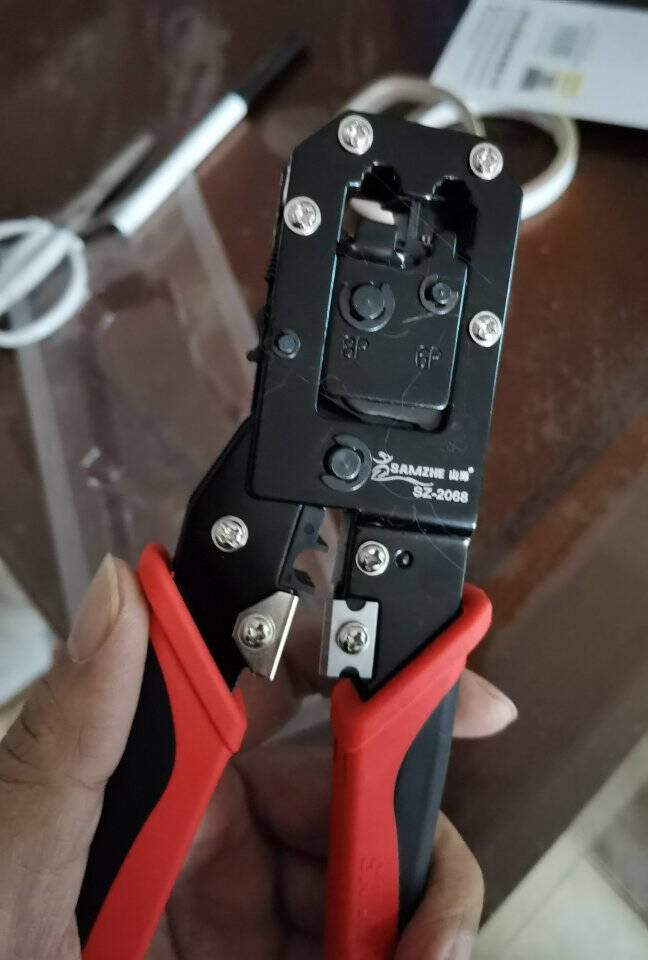 山泽(SAMZHE)网线钳子网络水晶头电话线网线压剥剪钳助力杆省力棘轮电脑网线电话线压接工具SZ-568R