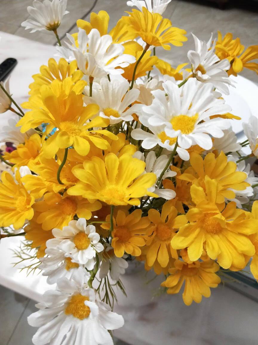 爱已装糖假花仿真花装饰花荷兰小雏菊5支花束干花绢花塑料花桌面摆设花客厅摆件餐桌花白色