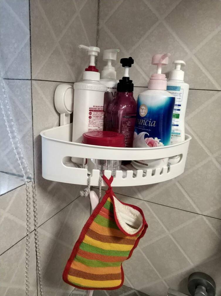 太力浴室置物架卫生间免打孔厕所置物架不伤墙洗手间三角架1个装