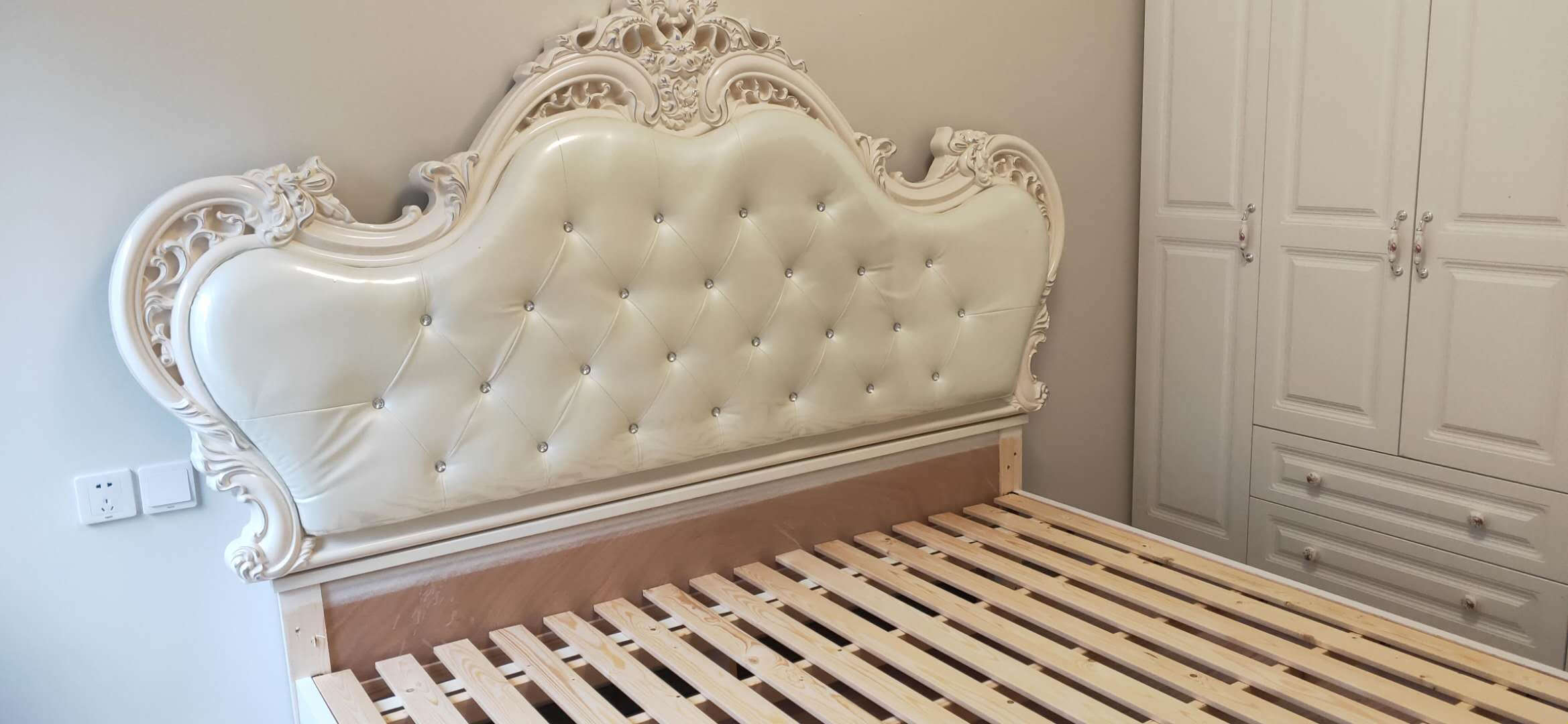 中巢床欧式床双人床卧室家具皮床法式实木床公主婚床1.8米现代北欧轻奢风格实木床1.8*2.0m框架结构