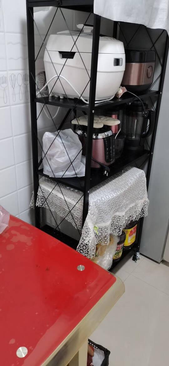 稳纳折叠置物架落地厨房储物架多层收纳架客厅移动推车阳台杂物架家用货架微波炉架子免安装黑色M8008H