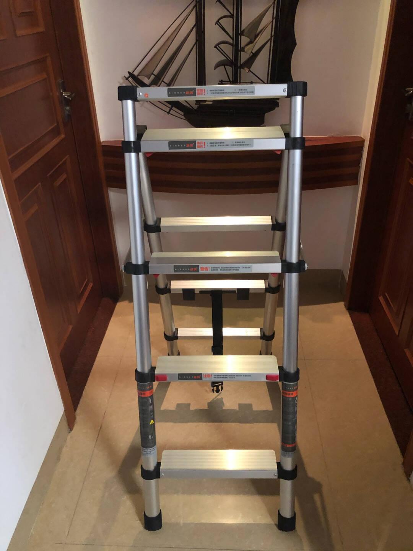 稳纳伸缩梯家用折叠多功能人字梯铝合金升降登高楼梯四步工程梯子6204Y