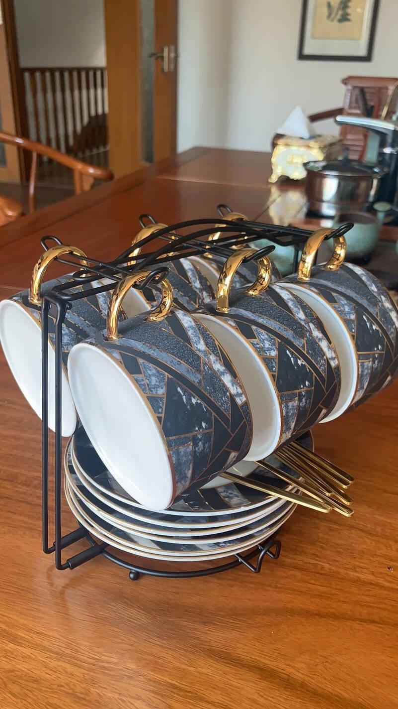 友来福北欧式咖啡杯碟套装陶瓷家用办公司便携下午茶茶具套装西式红茶杯子杯具
