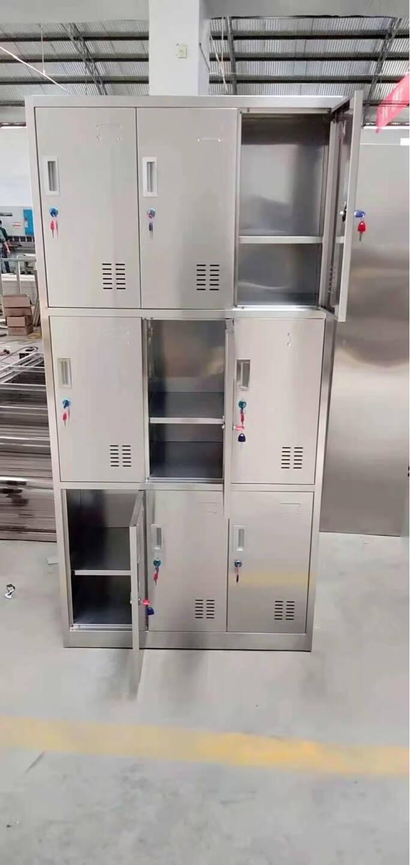 钺美不锈钢更衣柜员工储物柜挂衣柜304鞋柜碗柜浴室存包柜不锈钢隔板201板材