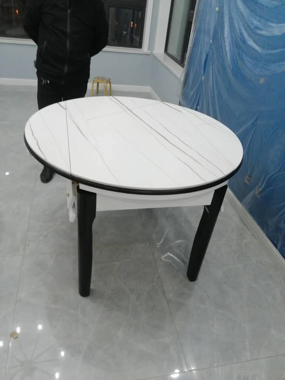 淘邦餐桌实木餐桌椅组合现代简约可伸缩折叠岩板餐桌椅家用小户型饭桌圆桌餐厅家具劳伦白金1.35米一桌六椅