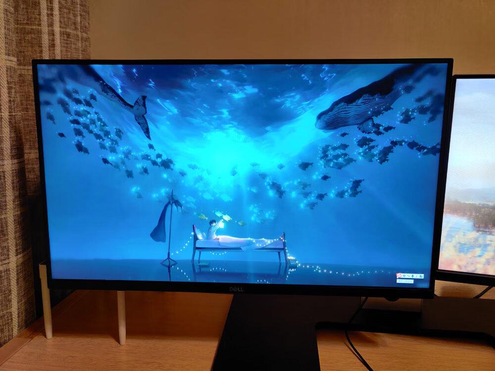 戴尔27英寸暗夜黑武士电竞显示器,玩吃鸡游戏设计作图非常适合
