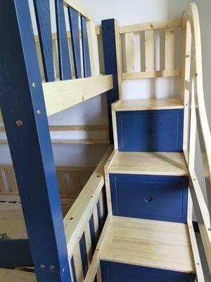 欧梵森包安装全实木儿童床上下铺美式床上下床松木实木高低床双人床双层床儿童家具梯柜款上铺1.5米*下铺1.5米