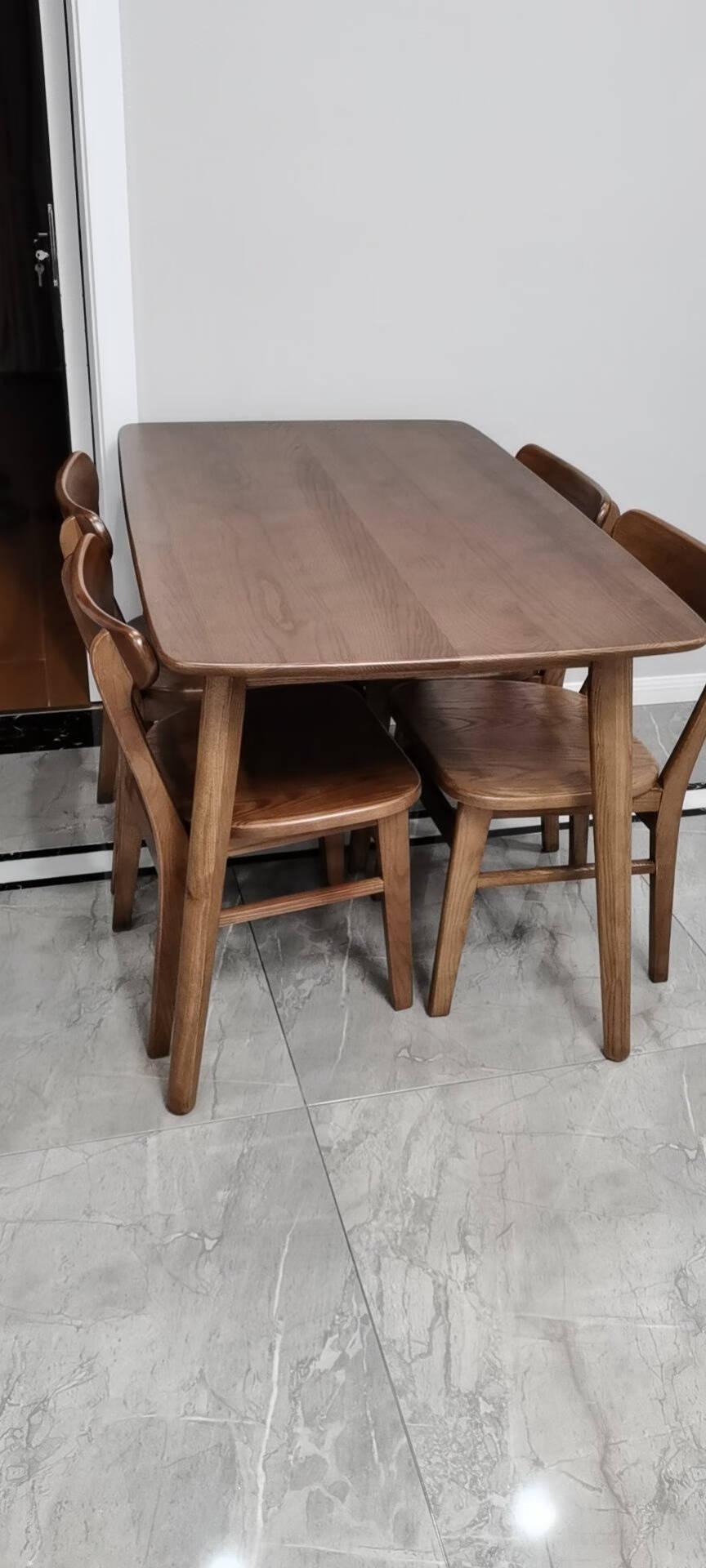 【拍券63折】慕尼思丹餐桌实木餐桌新中式北欧餐厅家具全白蜡木餐桌椅组合小户型吃饭桌子全白蜡木餐桌+餐椅*6【1.4米进口全白蜡木】
