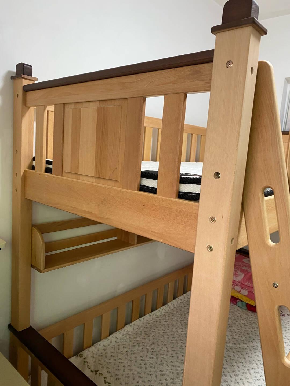 明星梦儿童床上下床实木高低床婴儿床可分体床两用两层多功能子母床上下铺榉木床拼接床赠儿童床垫家装节爬梯款+床垫*2【德国AA级榉木】上1.2米下1.5米