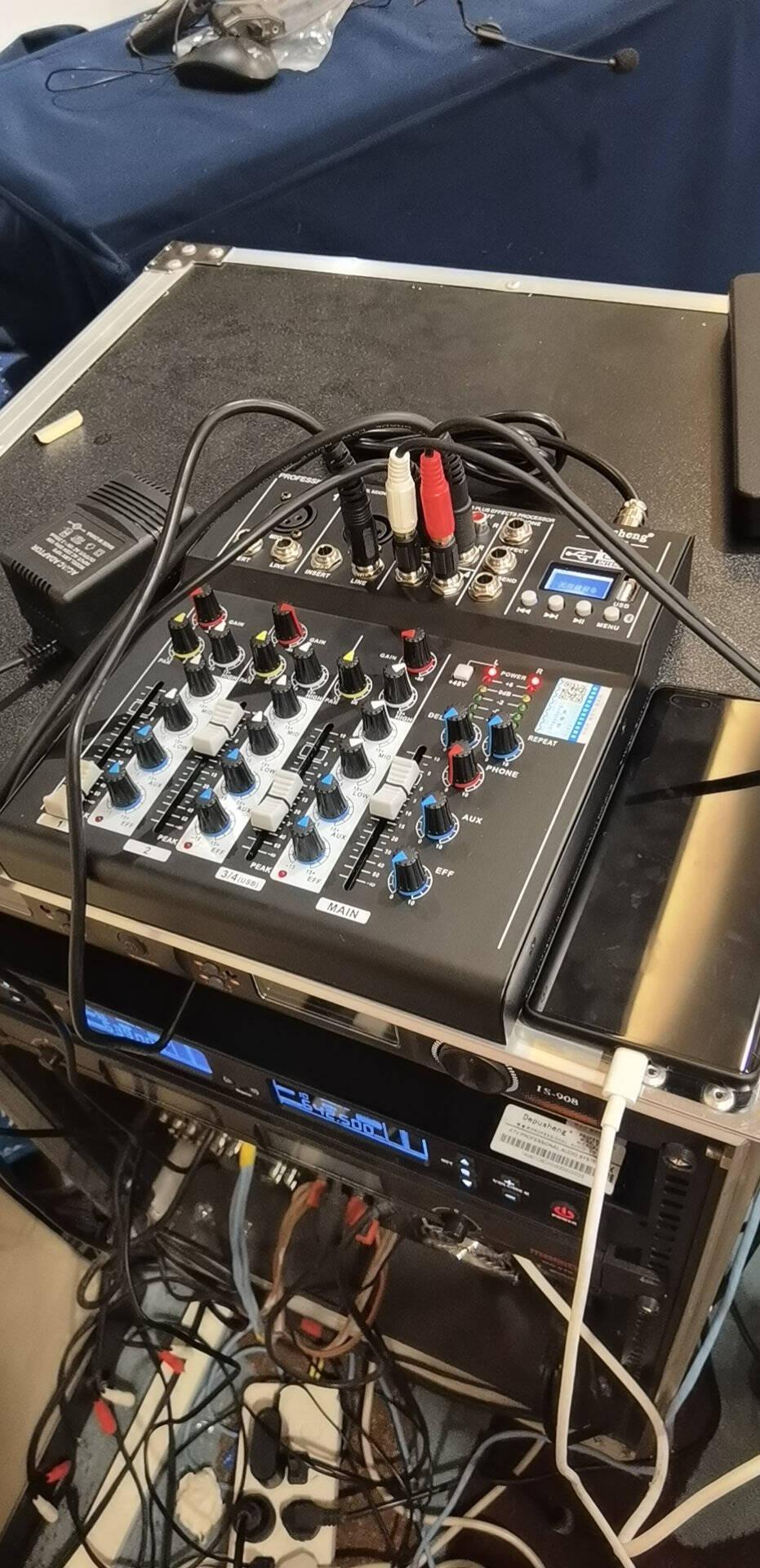 depusheng得普声F4专业4路调音台电脑录音小型家用效果KTV婚庆会议USB声卡蓝牙混响DE8USB声卡调音台