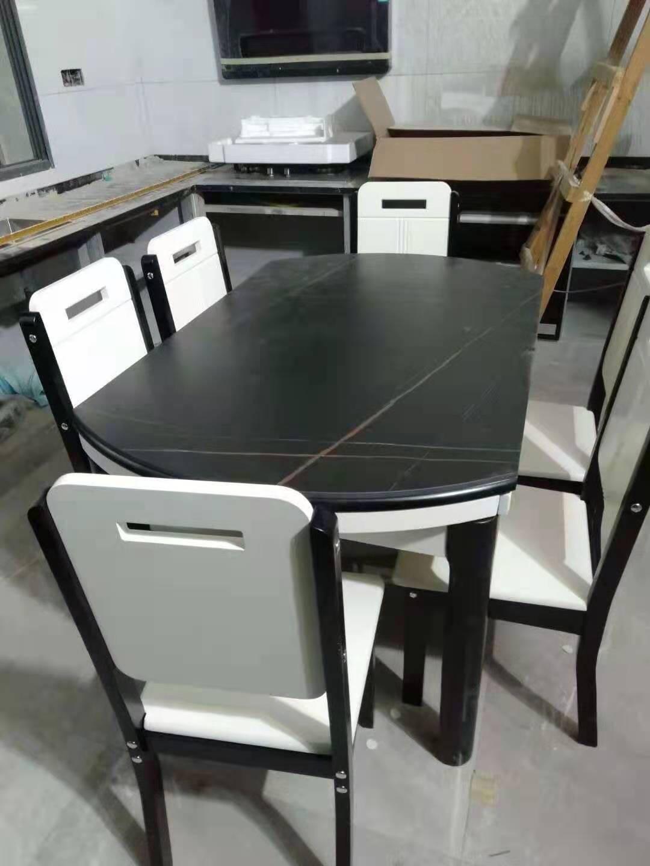 匠辰餐桌岩板餐桌椅组合家用小户型实木圆桌方圆两用饭桌现代简约可伸缩折叠钢化玻璃餐桌钢化玻璃(双色可选)1.2m单桌