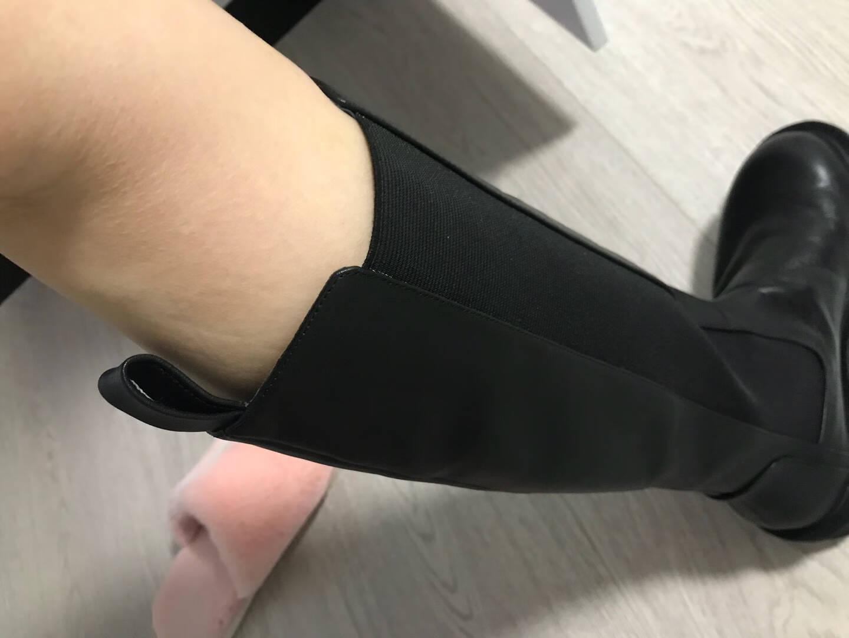 Tata他她冬商场同款时尚切尔西靴百搭长筒靴新款YXA01DG0黑色39