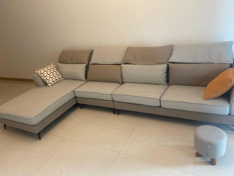 全友家居布艺沙发客厅沙发可拆洗多人位L转角现代简约实木内框架带贵妃榻102580反向沙发(1+3+转)