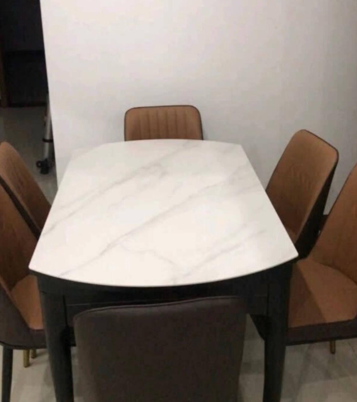 林氏木业现代简约可伸缩岩板餐桌椅组合家用可变圆形桌轻奢LS058圆餐桌-1.35米岩板款+餐椅*4