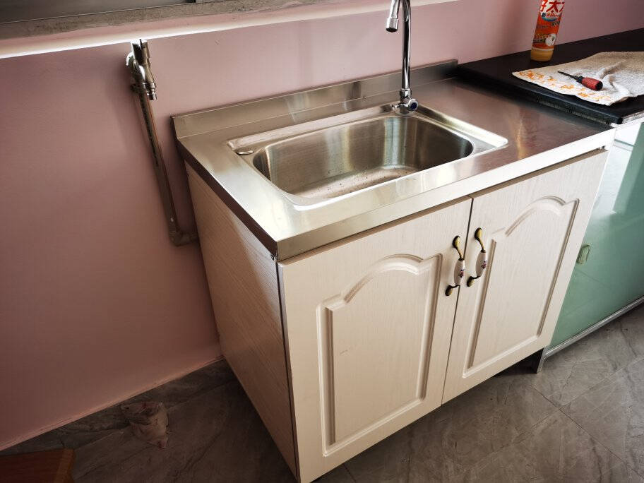 简易厨柜经济型家用不锈钢灶台柜厨房整体组合装洗菜碗柜简约橱柜6Fjft1.2米三开门右边单水盆柜