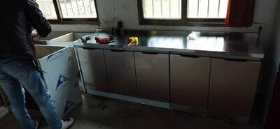 不锈钢橱柜简易厨柜成品灶台架厨房柜子灶台柜碗柜台柜天然气灶台套装组合一体可定制小户型多功能现代简约平面款80cm宽双门
