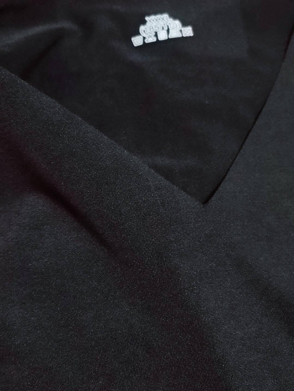 丹吉娅男士短袖冰丝无痕v领t恤简约舒适纯色运动休闲打底衫黑色2XL适合130-145斤