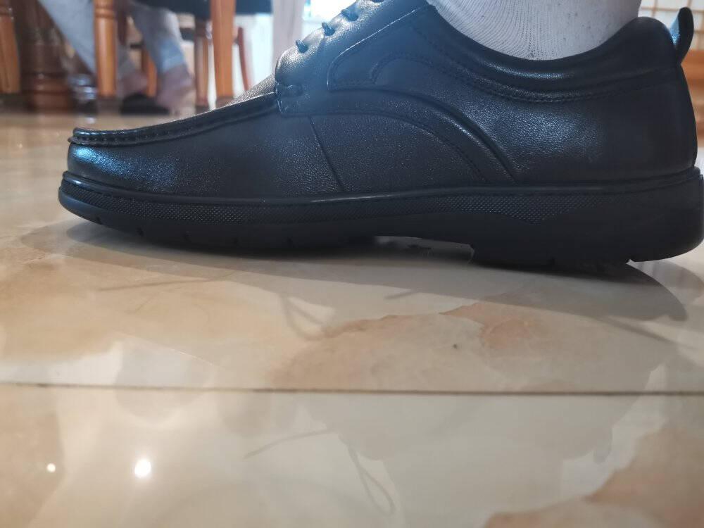 金利来(goldlion)男鞋舒适轻质商务休闲鞋时尚耐磨透气皮鞋50203014101A-黑色-42码