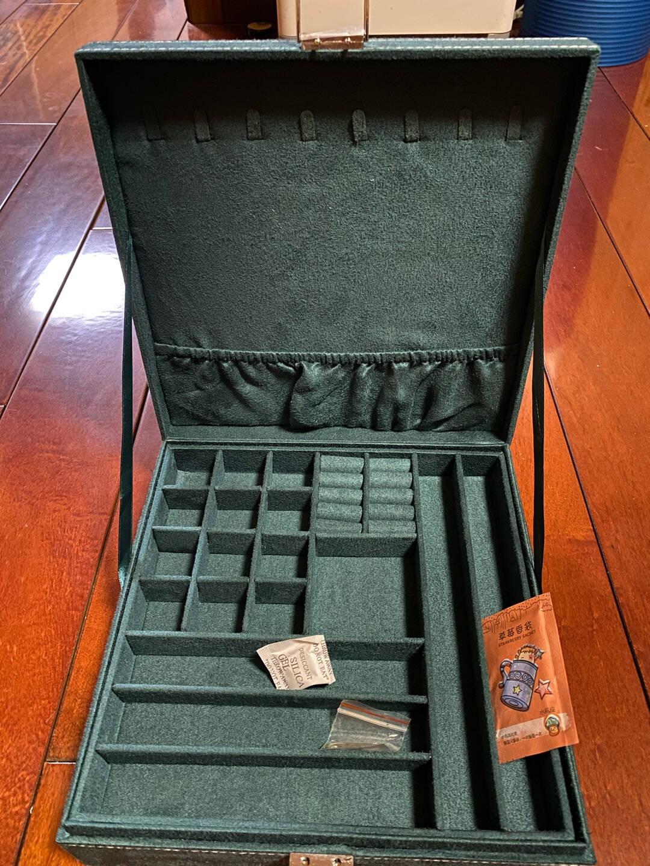 收纳总动员首饰盒带锁超大多功能耳环项链耳钉收纳盒简约多层大容量手饰品盒墨绿色单层