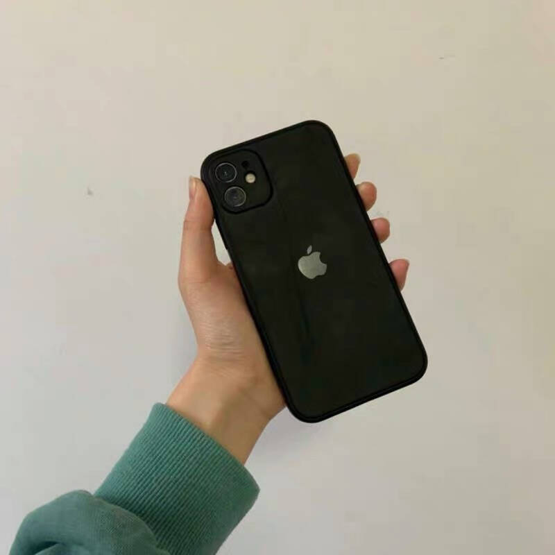 KEKLLE苹果12手机壳iphone12保护壳魔方直边全包镜头液态硅胶防摔超薄肤感男女软壳优雅黑