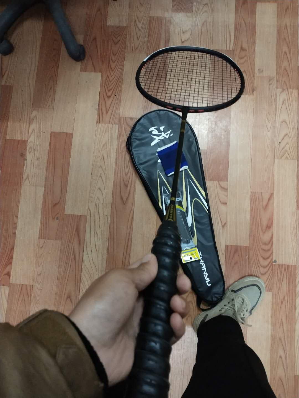 战羽ZHAN-YU羽毛球拍全碳素超碳系列初中级进阶4u羽毛球拍黑色(单拍)全碳素4U-85K重-可拉22-30磅