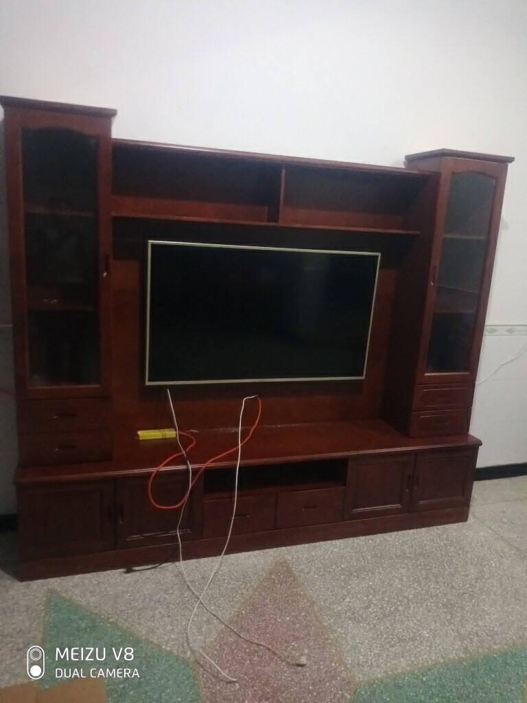 彩云归实木电视柜背景墙墙柜组合现代中式客厅整体电视背景柜多功能影视地柜总长2.2米组装