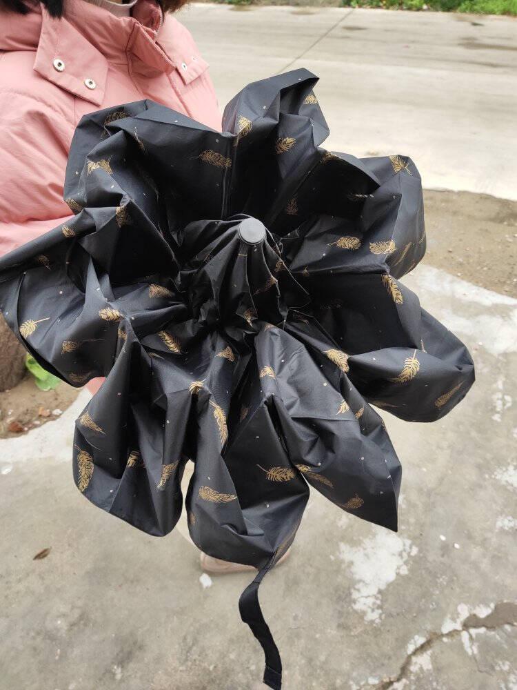 尚美德全自动雨伞三折大号防紫外线太阳伞男士商务轻便晴雨两用伞自动折叠雨伞黑色羽毛款8骨