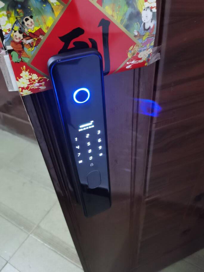密码锁指纹全自动全自动指纹锁家用防盗门智能门锁指纹密码锁反提大门电子刷卡门锁款一握开六合一+亚光黑+中插锁芯自行安装