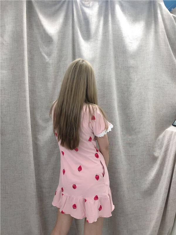 伊妙欣睡衣女夏季纯棉短袖甜美可爱女士可外穿睡裙女夏天休闲家居服YF103L码建议身高161-167体重100-120