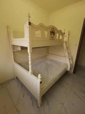 成长乐园实木儿童床高低床上下床双层床男孩女孩公主床多功能床上下铺现代简约高低床+书架(不送床垫)1200mm*1900mm