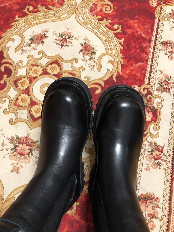 【店长推荐】森达女靴2020冬季新款英伦烟筒切尔西黑精灵厚底套筒短靴休闲圆头加绒皮靴Z8074DD0黑色37