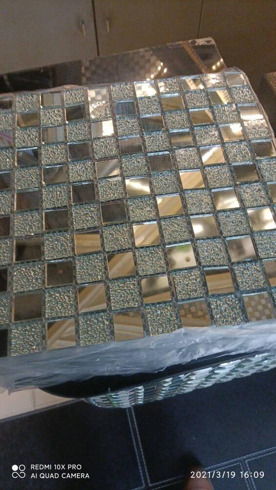 水晶马赛克瓷砖玻璃自粘吧台玄关背景墙墙贴游泳池水池鱼池卫生间银镜+银钻镜面款30x30