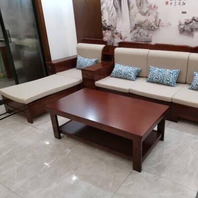 十虎实木沙发客厅家具组合套装冬夏两用小户型经济型农村木质整装沙发(储物款)单人位