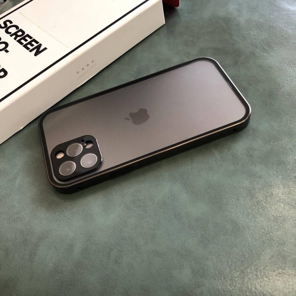 【定制款】锐舞苹果12promax手机壳iPhone12promax保护套透明玻璃防摔磁吸全包【海蓝色】360°全包防护航空防爆玻璃丨原机色铝金边框