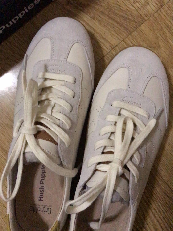 暇步士hushpuppies休闲鞋女士春季平底防滑透气时尚系带舒适百搭板鞋B2V03AM1白色36
