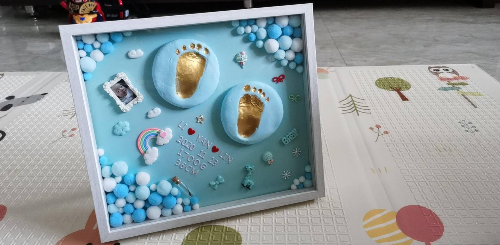 极度空间手足印泥满月百天礼物宝宝手足印泥纪念相框新生儿婴儿手脚印泥胎毛瓶生日礼物