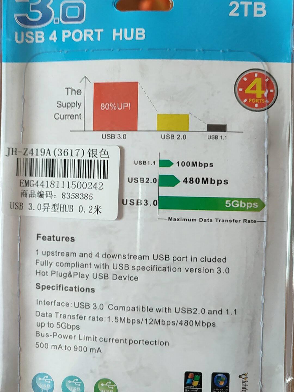 晶华(JH)USB2.0多口分线器高速一拖四集线转换器HUB多孔电脑接口U盘鼠标键盘笔记本扩展坞黑色1米Z412C