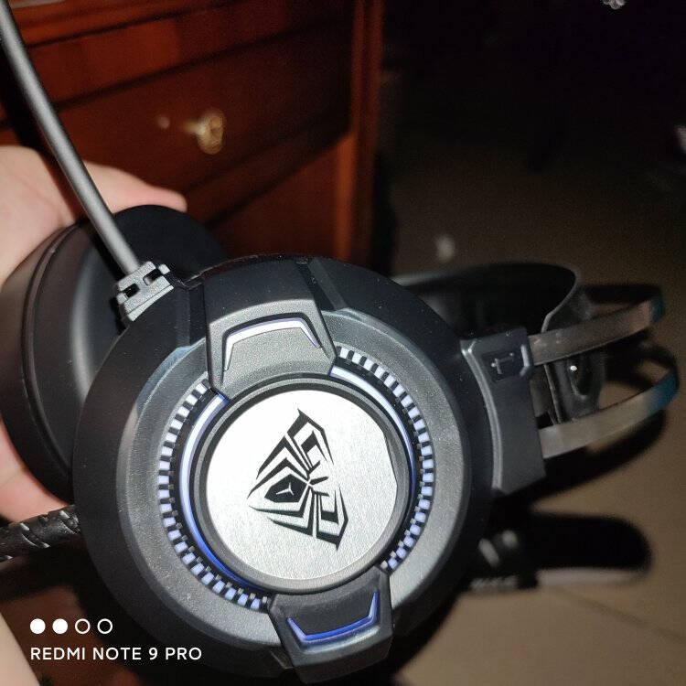 狼蛛(AULA)S602游戏耳机电脑耳机耳麦吃鸡耳机头戴式耳机带麦幻彩发光重低音标准版黑色USB+3.5