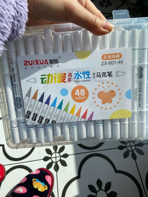 最炫(ZUIXUA)文具12色双头细杆水性马克笔学生双头绘画彩笔手绘漫画笔记号笔套装12支/盒ZX-601-12
