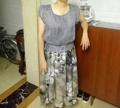 歌芬蔓品牌雪纺连衣裙女21年夏季新款气质碎花印花中长款短袖中年妈妈过膝大码裙子夏灰色XL
