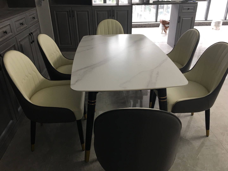 法岚卡(FLANCARD)岩板餐桌椅组合意式轻奢大理饭桌北欧现代简约小户型1.3x0.8米【意大利进口岩板】餐桌+4餐椅【留言备注餐椅颜色】