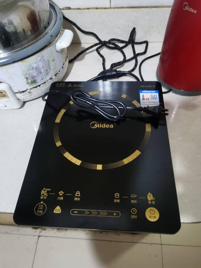 美的(Midea)电磁炉家用2200W大火力汉森面板电磁灶智能定时旋风防堵风机C22-RT22E01(RT22E0108)