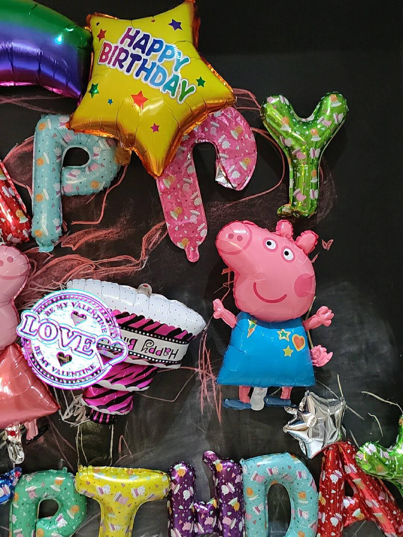 演绎生日装饰布置儿童气球套餐卡通主题场景男孩女孩派对装饰用品宝宝周岁宴会酒店背景墙快乐铝膜气球彩色佩奇气球套餐