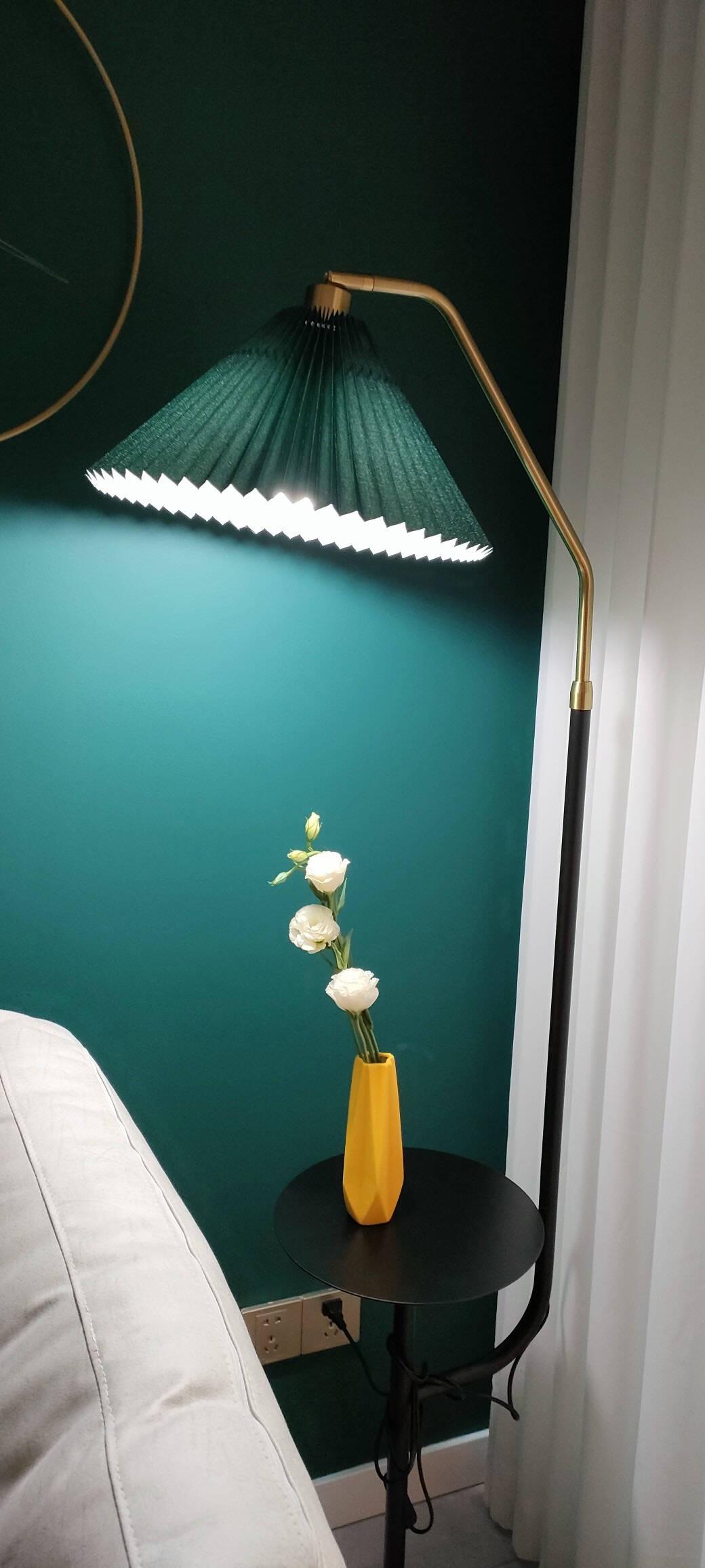 光的客厅落地灯带桌带茶几桌置物架带USB无线充电立式落地灯简约现代北欧卧室床头书房沙发麻将灯蓝+大理石+12W三色