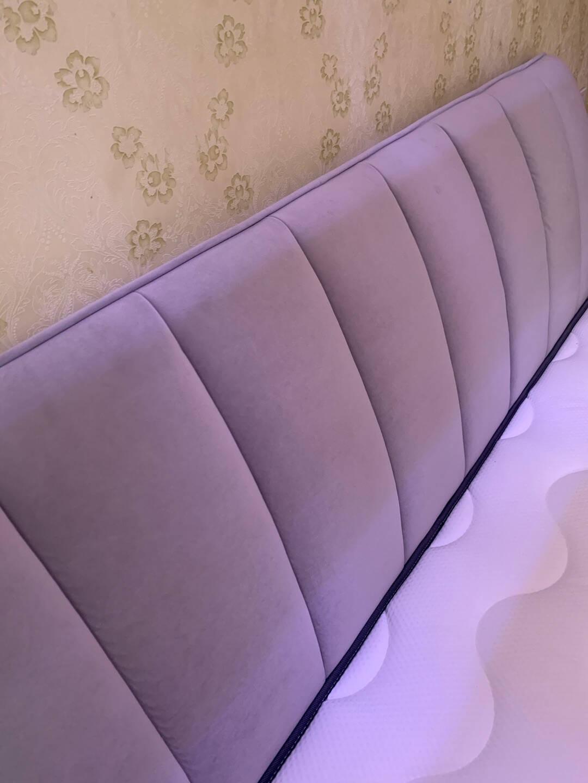 CBD床布艺床双人床现代简约布床可拆洗小户型主卧家具1.8米大床婚床D061A雾霾蓝(SF571)可拆洗1800*2000