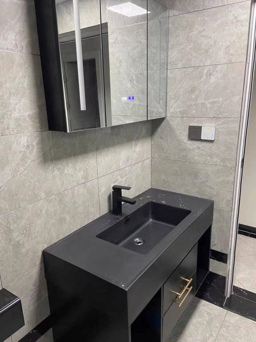 迪诗曼纳米岩板一体盆浴室柜组合实木双盆大理石洗手台洗脸盆卫生间洗漱台套装80CM普通镜柜+纳米岩石一体盆