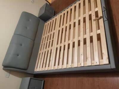 酷豪家居真皮床北欧现代简约双人软包床主卧婚床1.8米储物床1.5米榻榻米床A8781.5米真皮床框架结构